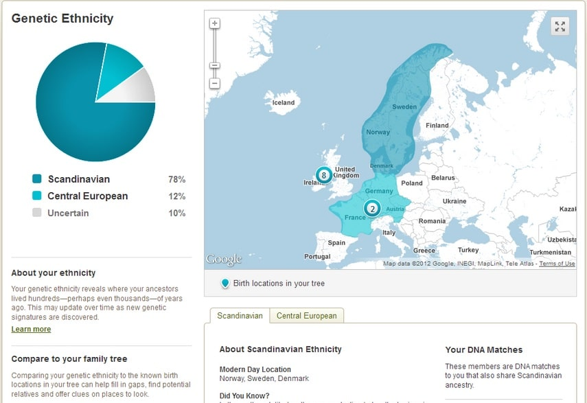 Ancestry DNA ethnicity test results sample